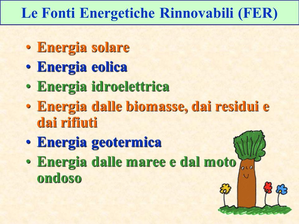 Energia solareEnergia solare Energia eolicaEnergia eolica Energia idroelettricaEnergia idroelettrica Energia dalle biomasse, dai residui e dai rifiuti