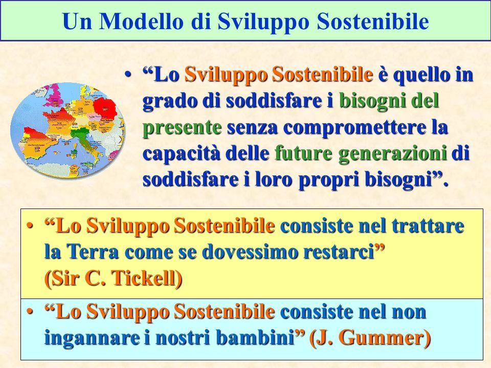 Lo Sviluppo Sostenibile è quello in grado di soddisfare i bisogni del presente senza compromettere la capacità delle future generazioni di soddisfare