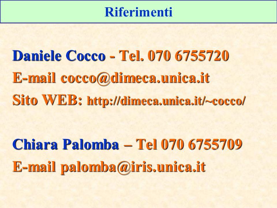 Riferimenti Daniele Cocco - Tel. 070 6755720 E-mail cocco@dimeca.unica.it Sito WEB: http://dimeca.unica.it/~cocco/ Chiara Palomba – Tel 070 6755709 E-