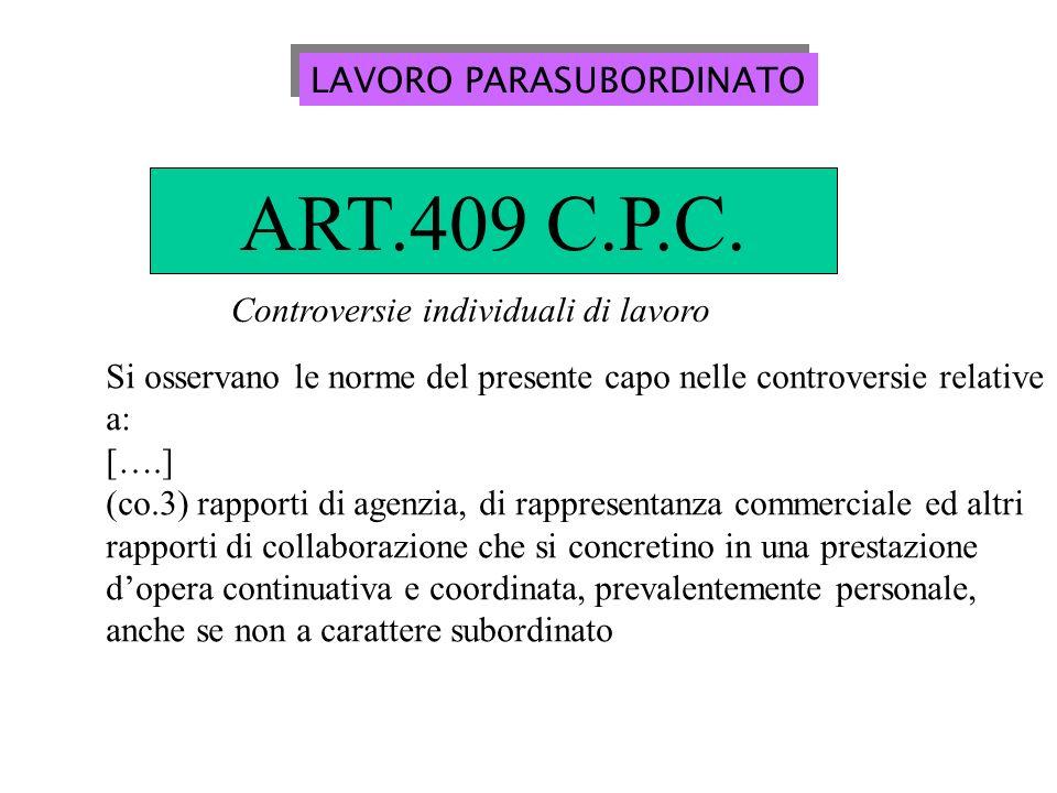 LAVORO PARASUBORDINATO ART.409 C.P.C.