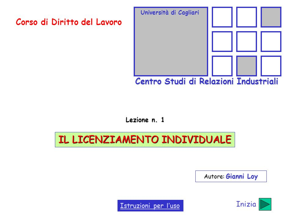 Università di Cagliari Centro Studi di Relazioni Industriali Corso di Diritto del Lavoro Lezione n. 1 IL LICENZIAMENTO INDIVIDUALE Autore: Gianni Loy