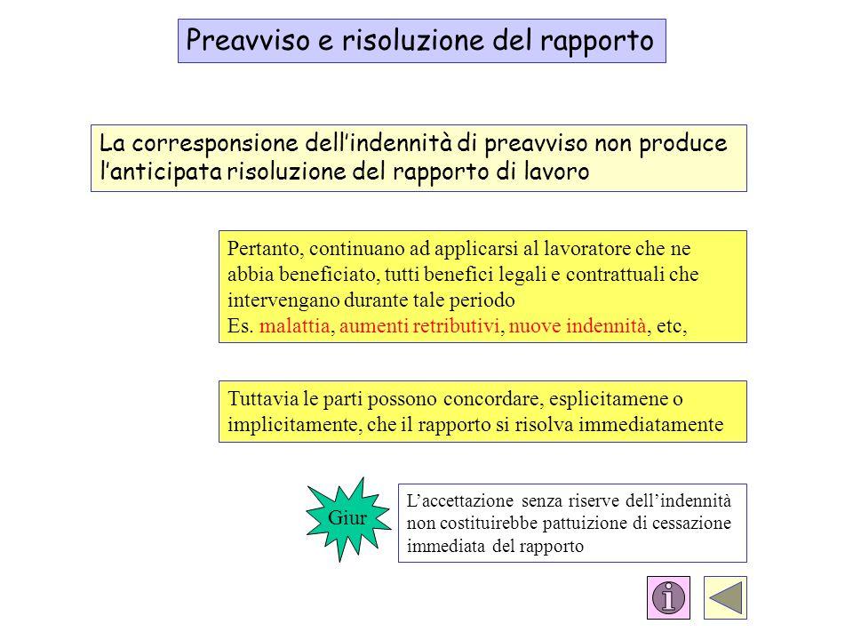 Preavviso e risoluzione del rapporto La corresponsione dellindennità di preavviso non produce lanticipata risoluzione del rapporto di lavoro Pertanto,