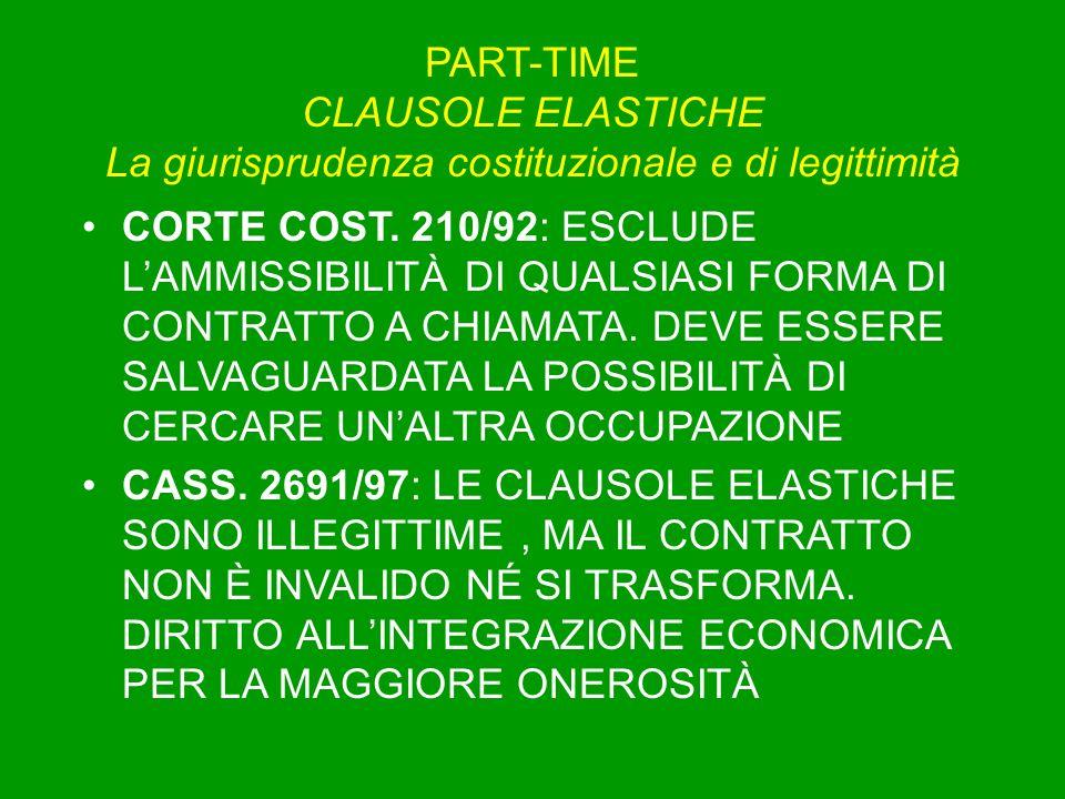 PART-TIME CLAUSOLE ELASTICHE La giurisprudenza costituzionale e di legittimità CORTE COST. 210/92: ESCLUDE LAMMISSIBILITÀ DI QUALSIASI FORMA DI CONTRA
