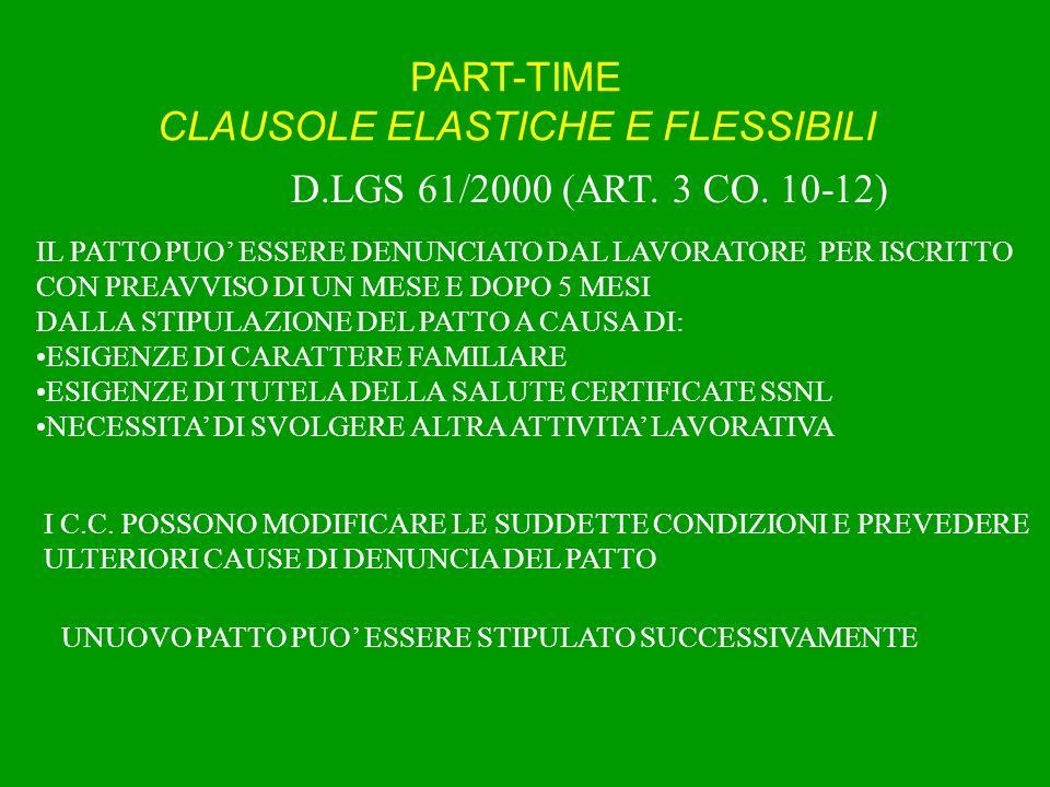 PART-TIME CLAUSOLE ELASTICHE E FLESSIBILI (D.LGS.276/2003, ART.