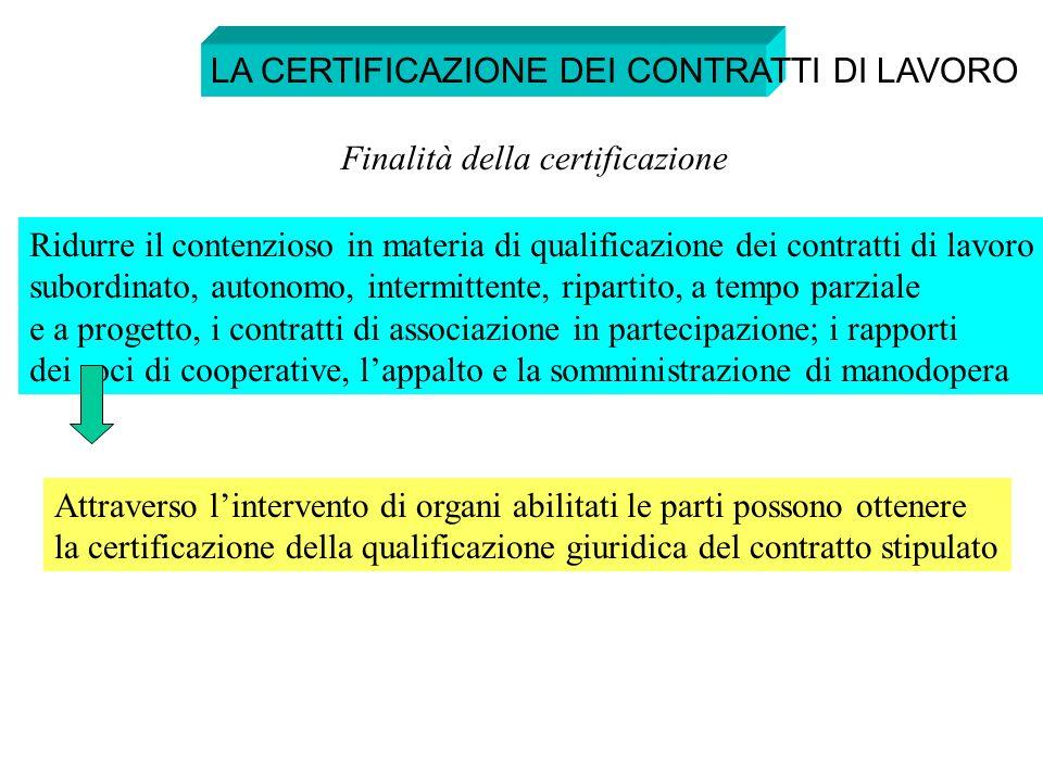 LA CERTIFICAZIONE DEI CONTRATTI DI LAVORO Ridurre il contenzioso in materia di qualificazione dei contratti di lavoro subordinato, autonomo, intermitt
