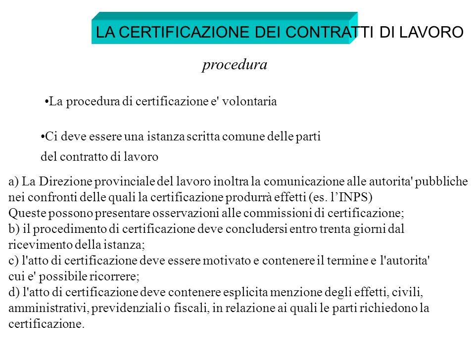 LA CERTIFICAZIONE DEI CONTRATTI DI LAVORO procedura La procedura di certificazione e' volontaria Ci deve essere una istanza scritta comune delle parti