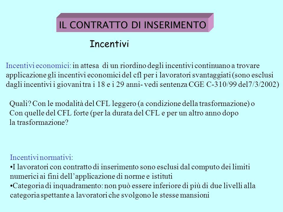 IL CONTRATTO DI INSERIMENTO Incentivi Incentivi economici: in attesa di un riordino degli incentivi continuano a trovare applicazione gli incentivi economici del cfl per i lavoratori svantaggiati (sono esclusi dagli incentivi i giovani tra i 18 e i 29 anni- vedi sentenza CGE C-310/99 del7/3/2002) Incentivi normativi: I lavoratori con contratto di inserimento sono esclusi dal computo dei limiti numerici ai fini dellapplicazione di norme e istituti Categoria di inquadramento: non può essere inferiore di più di due livelli alla categoria spettante a lavoratori che svolgono le stesse mansioni Quali.