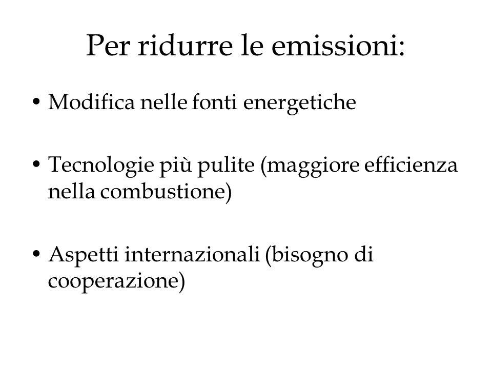 Accordi internazionali The Long Range Transboundary Air Pollution Convention (1979) Helsinki Protocol (1985): riduzione del 30% di SO 2 - GB non ratifica.