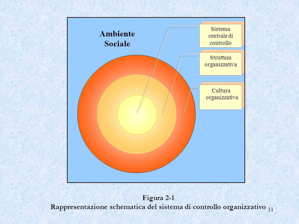 11 Figura 2 1 Rappresentazione schematica del sistema di controllo organizzativo Ambiente Sociale Sistema centrale di controllo Struttura organizzativ