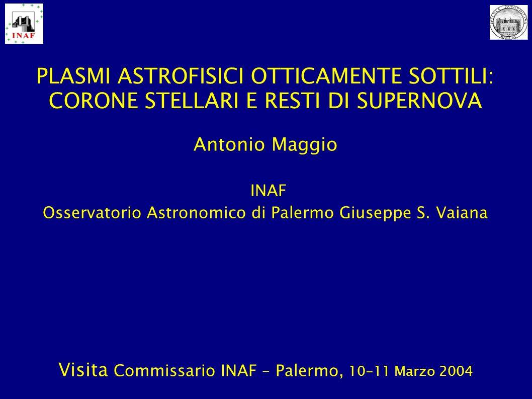 SOMMARIO Corone stellari: un ambito di ricerca storico per OAPA, oggi pienamente maturo Resti di supernova: linea di ricerca più recente, in forte crescita Interazioni con Fisica Solare e studi su popolazioni stellari e struttura della galassia Sinergia con attivita di sviluppo di strumentazione per raggi X e di calcolo ad alte prestazioni Risorse umane: nucleo storico di ricercatori OAPA e Dip.SF&A Risorse finanziarie: (in passato) ASI, CNAA, INAF/PRIN, (oggi) MIUR/PRIN, UE/Marie Curie