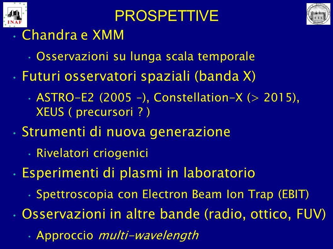PROSPETTIVE Chandra e XMM Osservazioni su lunga scala temporale Futuri osservatori spaziali (banda X) ASTRO-E2 (2005 –), Constellation-X (> 2015), XEU