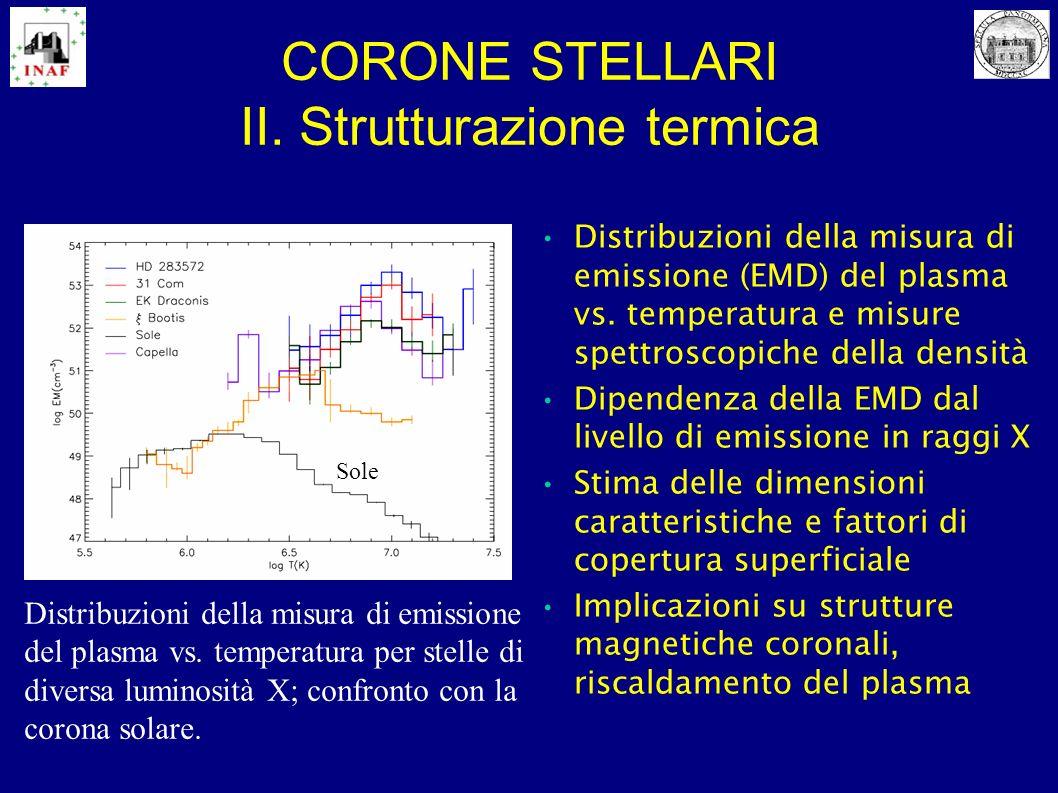 CORONE STELLARI II. Strutturazione termica Distribuzioni della misura di emissione (EMD) del plasma vs. temperatura e misure spettroscopiche della den