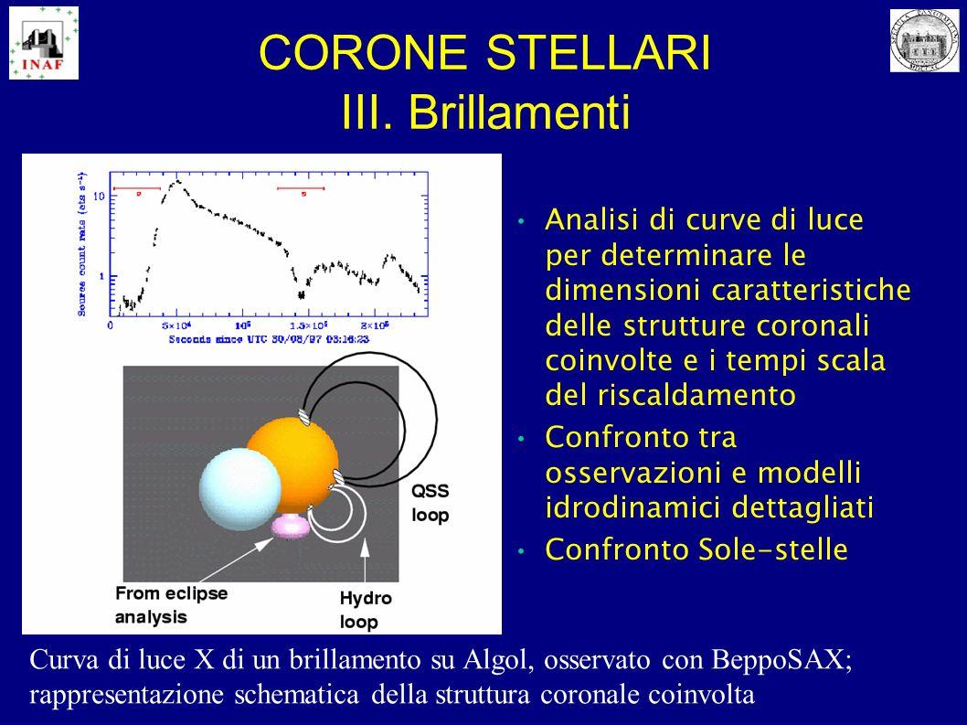 CORONE STELLARI III. Brillamenti Analisi di curve di luce per determinare le dimensioni caratteristiche delle strutture coronali coinvolte e i tempi s