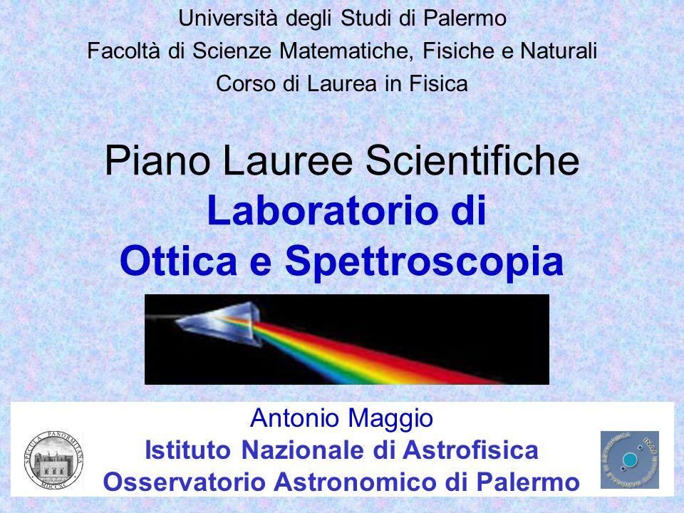 Piano Lauree Scientifiche Laboratorio di Ottica e Spettroscopia Università degli Studi di Palermo Facoltà di Scienze Matematiche, Fisiche e Naturali C