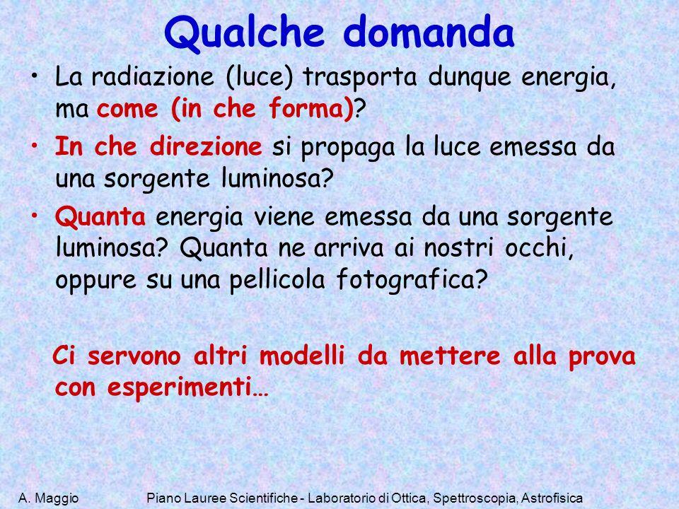 A. Maggio Qualche domanda La radiazione (luce) trasporta dunque energia, ma come (in che forma)? In che direzione si propaga la luce emessa da una sor