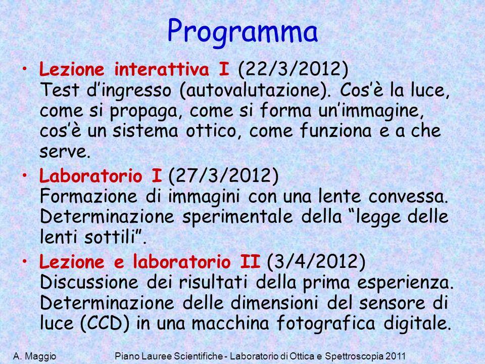 A. Maggio Programma Lezione interattiva I (22/3/2012) Test dingresso (autovalutazione). Cosè la luce, come si propaga, come si forma unimmagine, cosè
