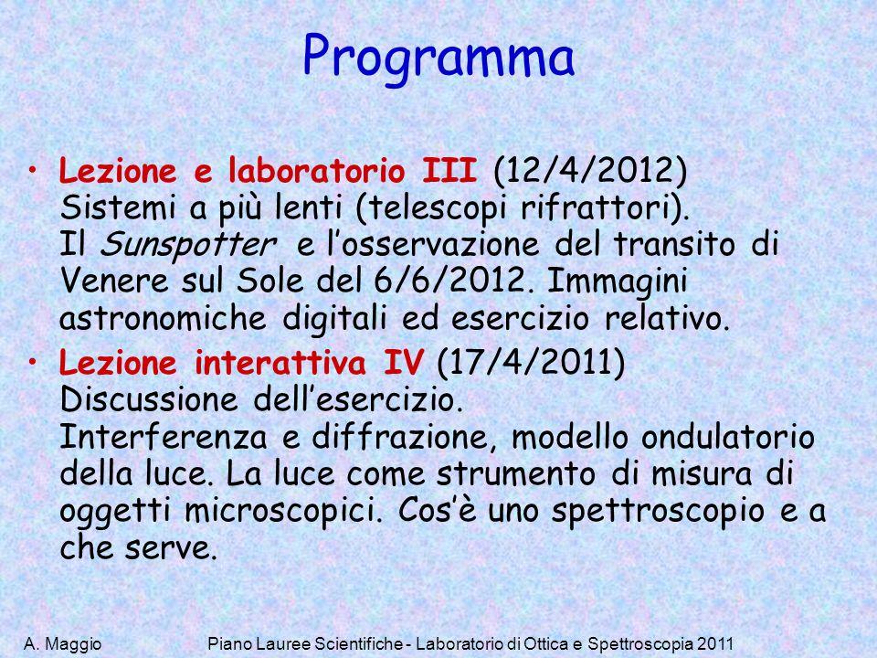 A. MaggioPiano Lauree Scientifiche - Laboratorio di Ottica e Spettroscopia 2011 Programma Lezione e laboratorio III (12/4/2012) Sistemi a più lenti (t