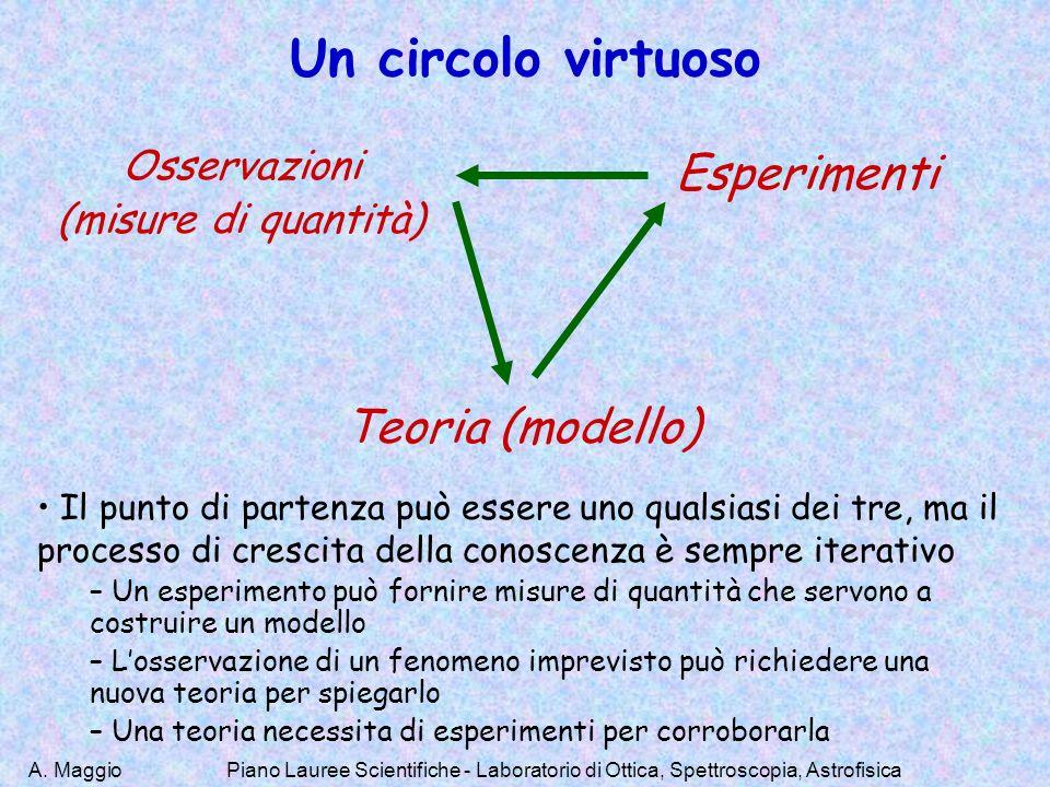 A. Maggio Un circolo virtuoso Osservazioni (misure di quantità) Esperimenti Teoria (modello) Il punto di partenza può essere uno qualsiasi dei tre, ma