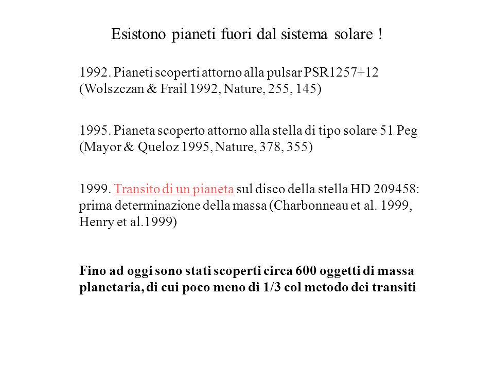 Esistono pianeti fuori dal sistema solare ! 1992. Pianeti scoperti attorno alla pulsar PSR1257+12 (Wolszczan & Frail 1992, Nature, 255, 145) 1995. Pia