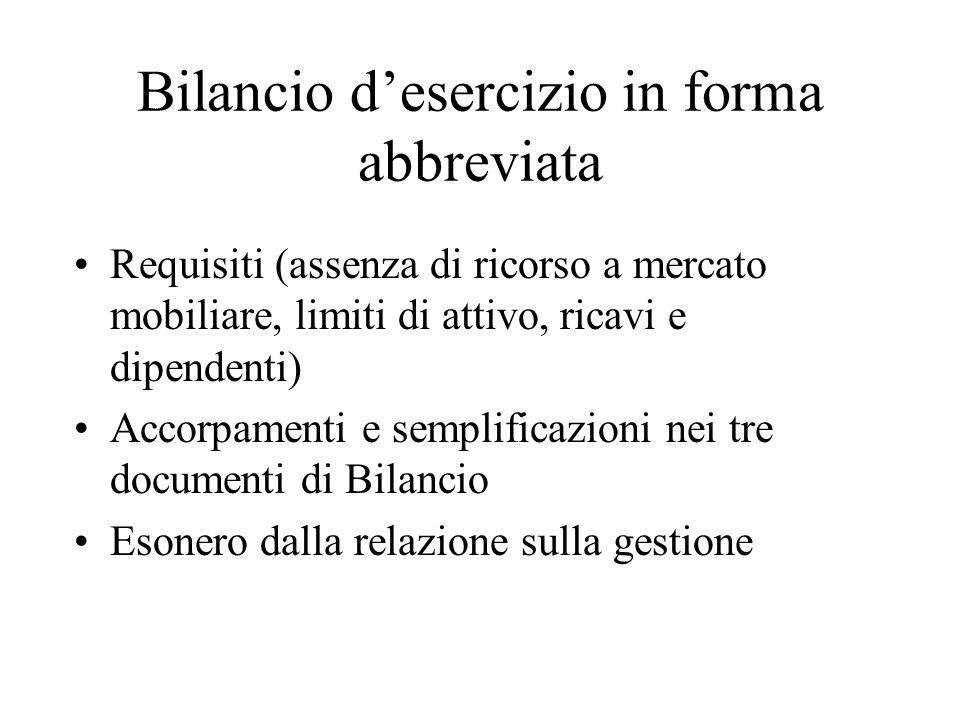 Bilancio desercizio in forma abbreviata Requisiti (assenza di ricorso a mercato mobiliare, limiti di attivo, ricavi e dipendenti) Accorpamenti e sempl