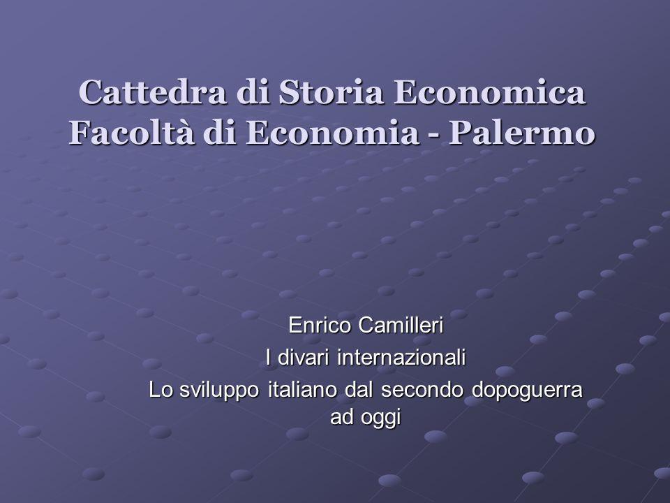 Cattedra di Storia Economica Facoltà di Economia - Palermo Enrico Camilleri I divari internazionali Lo sviluppo italiano dal secondo dopoguerra ad ogg