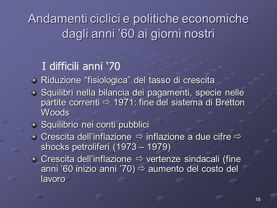 18 Andamenti ciclici e politiche economiche dagli anni 60 ai giorni nostri Riduzione fisiologica del tasso di crescita Squilibri nella bilancia dei pa
