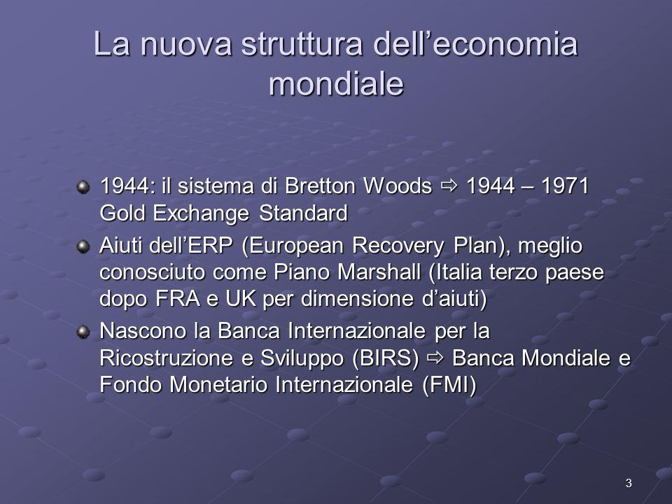 3 La nuova struttura delleconomia mondiale 1944: il sistema di Bretton Woods 1944 – 1971 Gold Exchange Standard Aiuti dellERP (European Recovery Plan)
