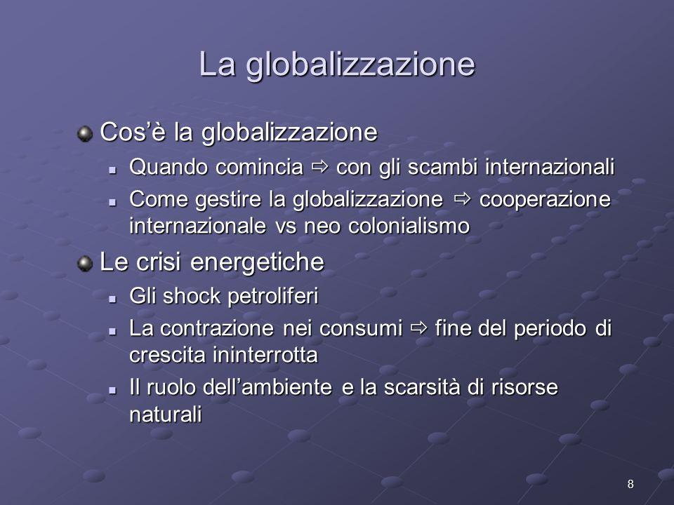 8 La globalizzazione Cosè la globalizzazione Quando comincia con gli scambi internazionali Quando comincia con gli scambi internazionali Come gestire