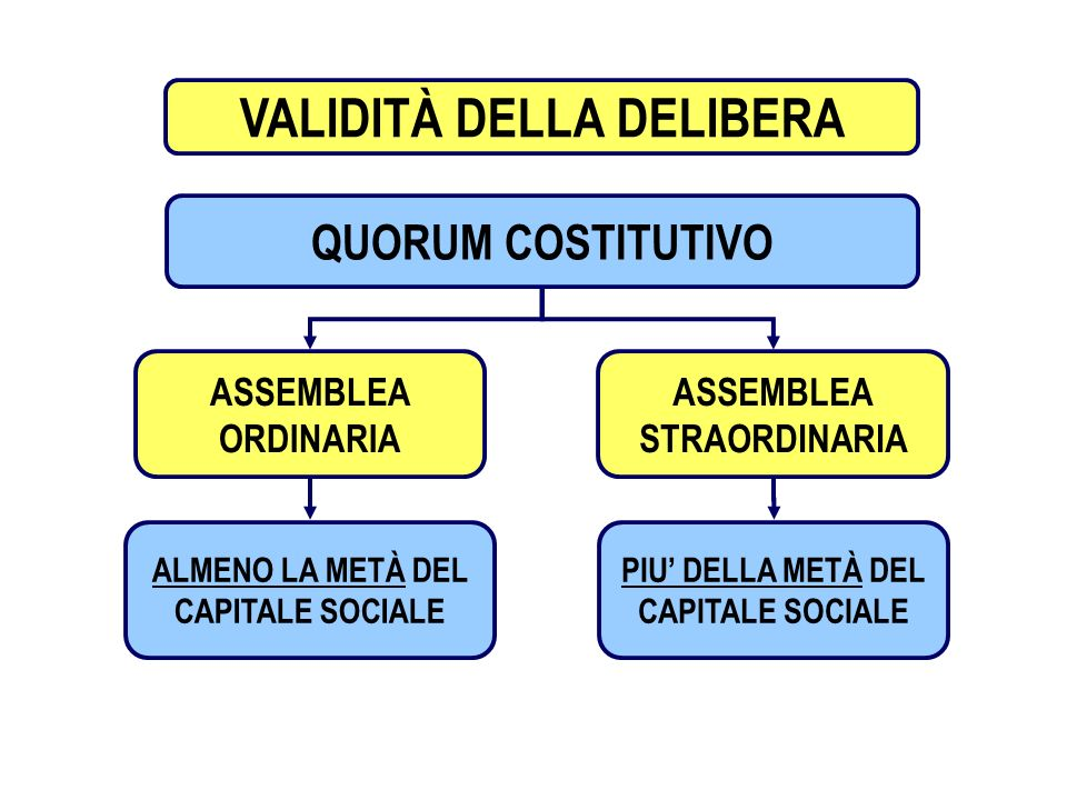 9 PROCEDIMENTO ASSEMBLEARE VALIDITÀ DELLA DELIBERA QUORUM COSTITUTIVO ALMENO LA METÀ DEL CAPITALE SOCIALE PIU DELLA METÀ DEL CAPITALE SOCIALE ASSEMBLE