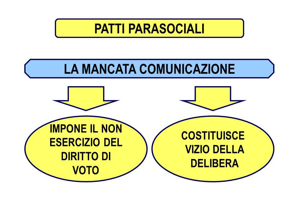 13 PATTI PARASOCIALI LA MANCATA COMUNICAZIONE IMPONE IL NON ESERCIZIO DEL DIRITTO DI VOTO COSTITUISCE VIZIO DELLA DELIBERA PATTI PARASOCIALI