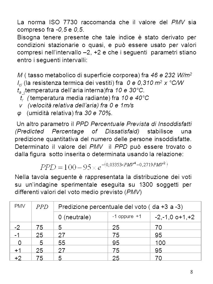 8 La norma ISO 7730 raccomanda che il valore del PMV sia compreso fra -0,5 e 0,5. Bisogna tenere presente che tale indice è stato derivato per condizi