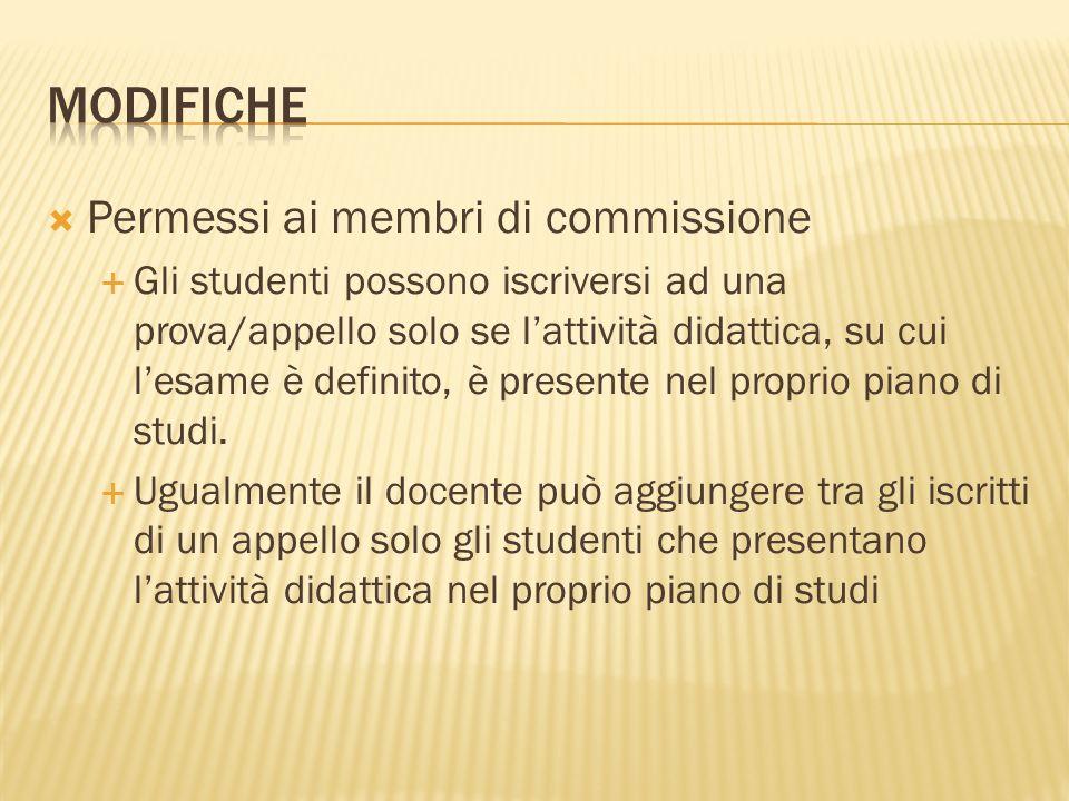 Permessi ai membri di commissione Gli studenti possono iscriversi ad una prova/appello solo se lattività didattica, su cui lesame è definito, è presente nel proprio piano di studi.