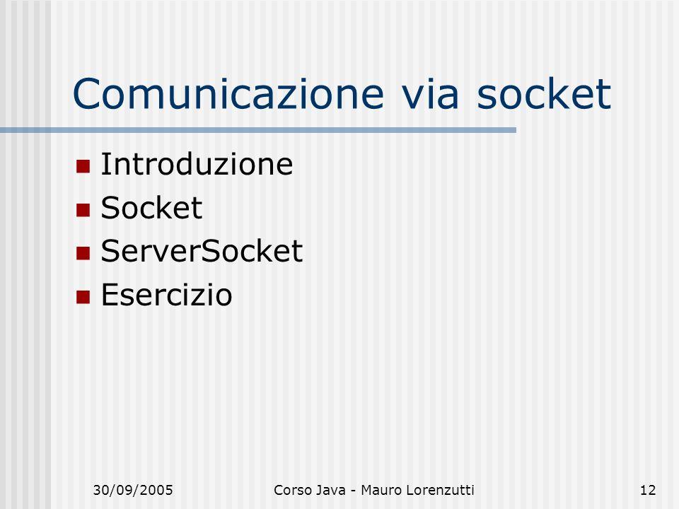 30/09/2005Corso Java - Mauro Lorenzutti12 Comunicazione via socket Introduzione Socket ServerSocket Esercizio