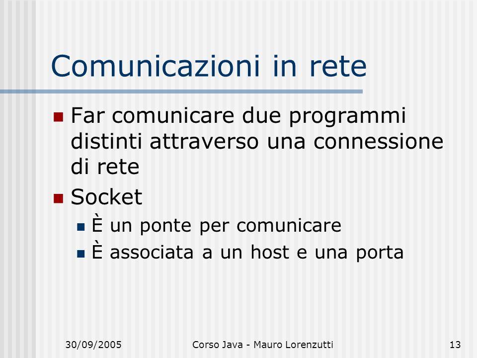 30/09/2005Corso Java - Mauro Lorenzutti13 Comunicazioni in rete Far comunicare due programmi distinti attraverso una connessione di rete Socket È un ponte per comunicare È associata a un host e una porta