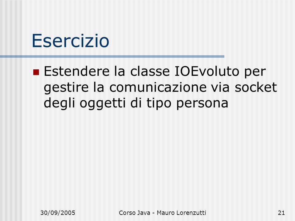 30/09/2005Corso Java - Mauro Lorenzutti21 Esercizio Estendere la classe IOEvoluto per gestire la comunicazione via socket degli oggetti di tipo persona
