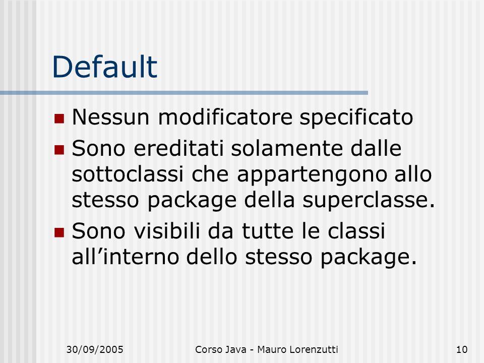 30/09/2005Corso Java - Mauro Lorenzutti10 Default Nessun modificatore specificato Sono ereditati solamente dalle sottoclassi che appartengono allo ste