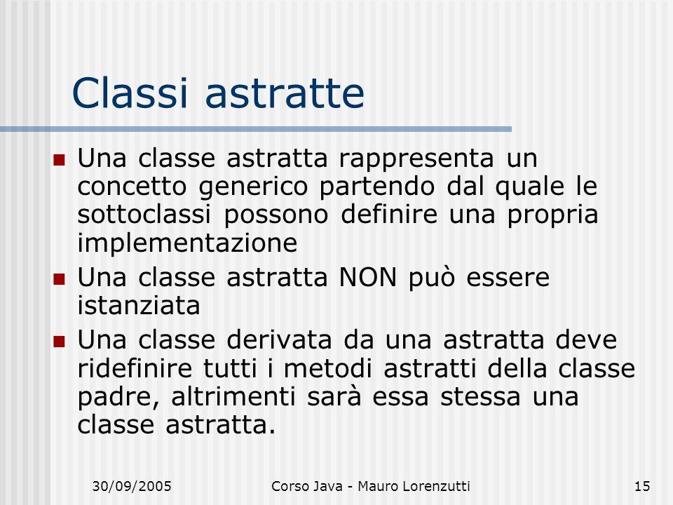 30/09/2005Corso Java - Mauro Lorenzutti15 Classi astratte Una classe astratta rappresenta un concetto generico partendo dal quale le sottoclassi posso