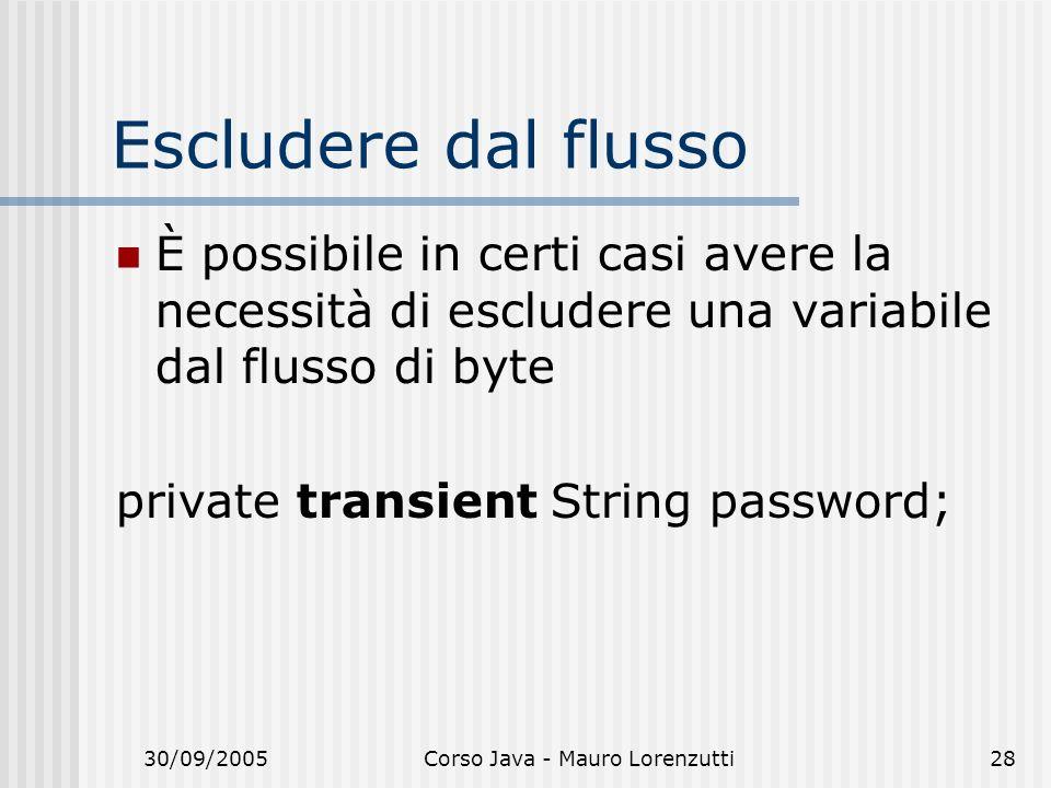 30/09/2005Corso Java - Mauro Lorenzutti28 Escludere dal flusso È possibile in certi casi avere la necessità di escludere una variabile dal flusso di b