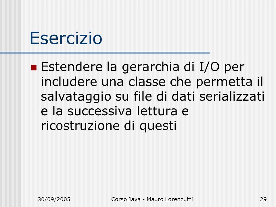 30/09/2005Corso Java - Mauro Lorenzutti29 Esercizio Estendere la gerarchia di I/O per includere una classe che permetta il salvataggio su file di dati