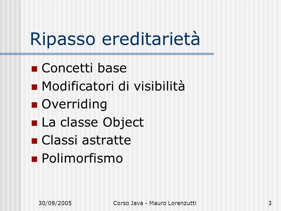 30/09/2005Corso Java - Mauro Lorenzutti3 Ripasso ereditarietà Concetti base Modificatori di visibilità Overriding La classe Object Classi astratte Pol