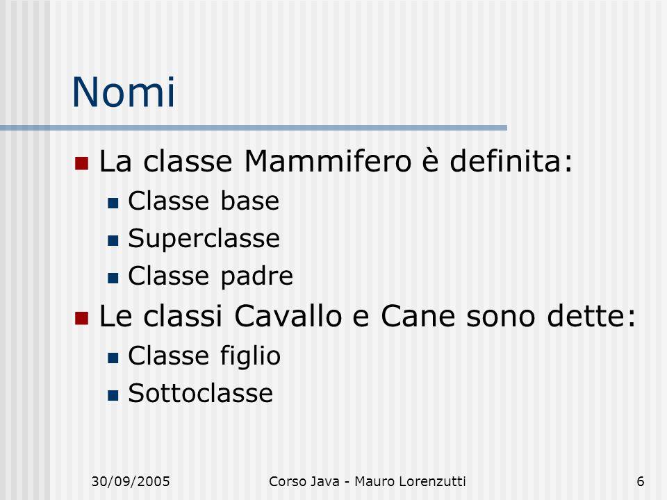 30/09/2005Corso Java - Mauro Lorenzutti6 Nomi La classe Mammifero è definita: Classe base Superclasse Classe padre Le classi Cavallo e Cane sono dette