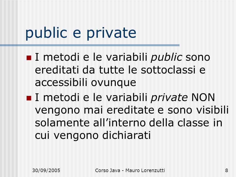 30/09/2005Corso Java - Mauro Lorenzutti8 public e private I metodi e le variabili public sono ereditati da tutte le sottoclassi e accessibili ovunque
