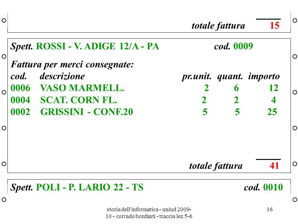 storia dell'informatica - uniud 2009- 10 - corrado bonfanti - traccia lez.5-6 16 ° ° ° ° ° ° ° ° ° °° ° ° ° ° ° ° ° ° ° Spett. ROSSI - V. ADIGE 12/A -