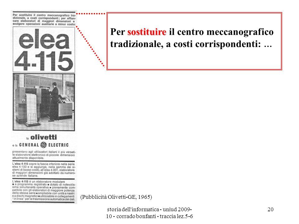 storia dell'informatica - uniud 2009- 10 - corrado bonfanti - traccia lez.5-6 20 sostituire Per sostituire il centro meccanografico tradizionale, a co
