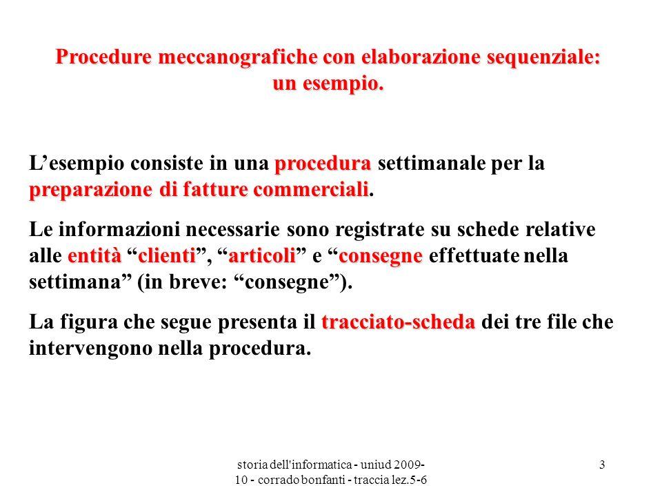 storia dell'informatica - uniud 2009- 10 - corrado bonfanti - traccia lez.5-6 3 Procedure meccanografiche con elaborazione sequenziale: un esempio. pr