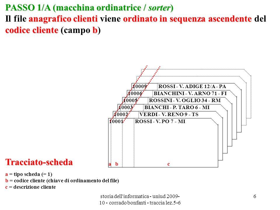 storia dell informatica - uniud 2009- 10 - corrado bonfanti - traccia lez.5-6 7 Tracciato-scheda a = tipo scheda (= 2) d = codice articolo (chiave di ordinamento del file) e = prezzo unitario f = descrizione articolo PASSO 1/B (macchina ordinatrice / sorter) anagrafico articoliordinato in sequenza ascendente codice articolo d PASSO 1/B (macchina ordinatrice / sorter) Il file anagrafico articoli viene ordinato in sequenza ascendente del codice articolo (campo d) 2 0006 2 VASO MARMELL.