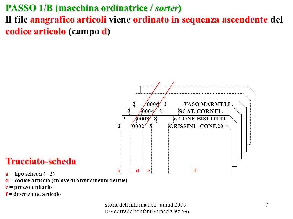 storia dell informatica - uniud 2009- 10 - corrado bonfanti - traccia lez.5-6 8 Tracciato-scheda a = tipo scheda (= 3) b = codice cliente d = codice articolo (chiave di ordinamento) e = prezzo unitario (*) g = quantità consegnata h = importo da fatturare (*) f = descrizione articolo (*) (*) = campi inizialmente vuoti PASSO 1/C (macchina ordinatrice / sorter) consegne settimanaliordinato in sequenza ascendentecodice articolo d PASSO 1/C (macchina ordinatrice / sorter) Il file (temporaneo) consegne settimanali viene ordinato in sequenza ascendente del codice articolo (campo d) 300090006 6 a b c d e f g 300030006 5 a b c d e f g 300060004 5 a b c d e f g 300090004 2 a b c d e f g 300060002 10 a b c d e f g 300010002 3 a b c d e f g 300090002 5 a b d e g h f