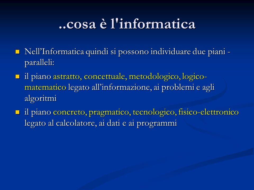 ..cosa è l informatica NellInformatica quindi si possono individuare due piani - paralleli: NellInformatica quindi si possono individuare due piani - paralleli: il piano astratto, concettuale, metodologico, logico- matematico legato allinformazione, ai problemi e agli algoritmi il piano astratto, concettuale, metodologico, logico- matematico legato allinformazione, ai problemi e agli algoritmi il piano concreto, pragmatico, tecnologico, fisico-elettronico legato al calcolatore, ai dati e ai programmi il piano concreto, pragmatico, tecnologico, fisico-elettronico legato al calcolatore, ai dati e ai programmi