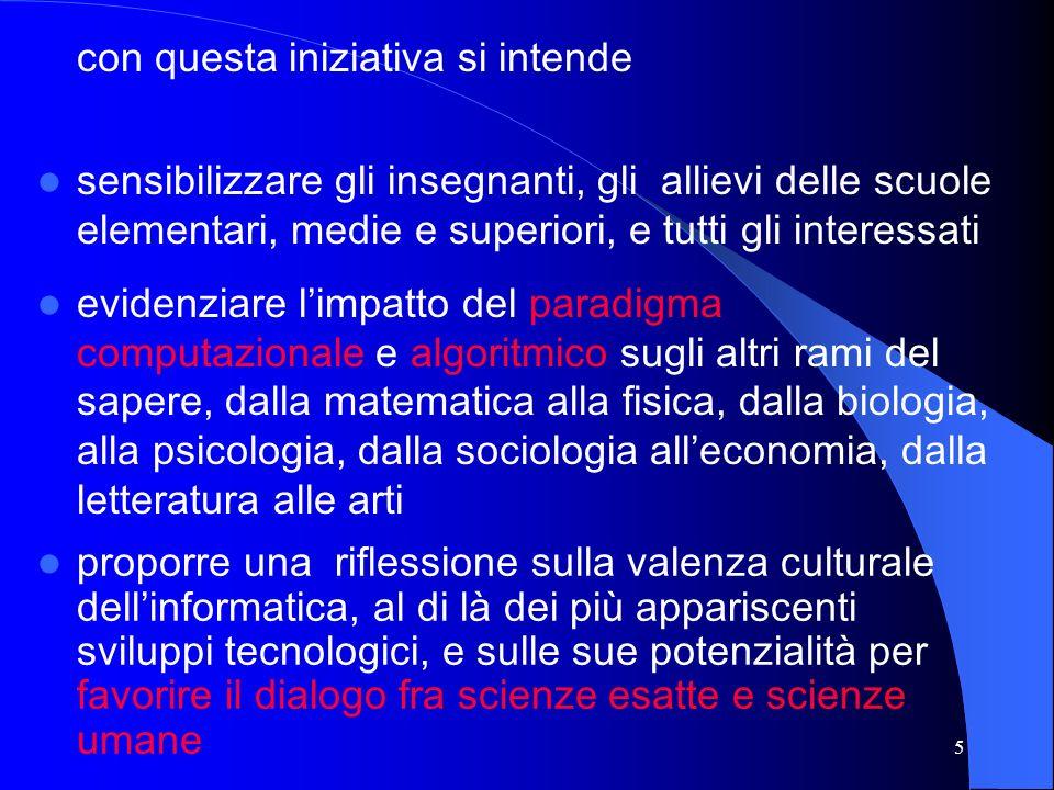 4 è uno dei momenti più significativi per il 2001 dellattività di collaborazione dellUniversità di Udine con il sistema scolastico, dalla Scuola dellInfanzia alla Scuola Secondaria Superiore questanno, come filo conduttore, è stata scelta linformatica, di per sé trasversale e pervasiva, per suggerire e stimolare linterdisciplinarità non ci saranno solo laboratori, conferenze, tavole rotonde, ma anche mostre, concerti, spettacoli teatrali, giochi, happenings, gare, … protagonisti non saranno solo ricercatori, docenti, specialisti, ma anche alunni e allievi