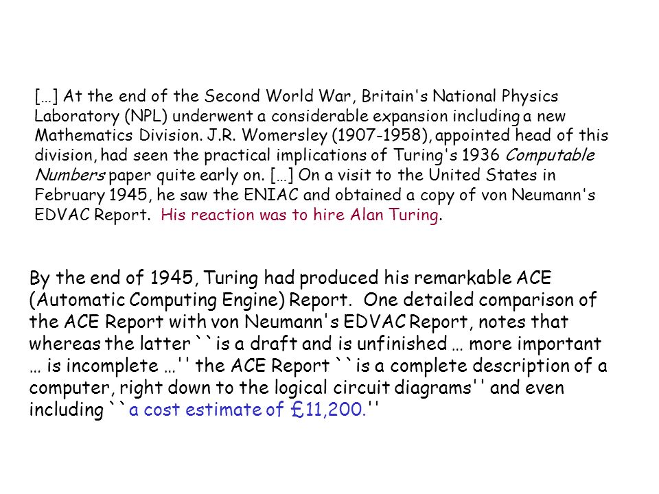 […] At the end of the Second World War, Britain s National Physics Laboratory (NPL) underwent a considerable expansion including a new Mathematics Division.